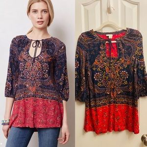 """Anthropologie """"Meadow Rue"""" Blushed Paisley Blouse"""